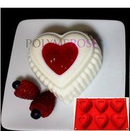HEARTS Mold Pan for Cupcakes, Muffins, Desserts, Jello. 6 Cavity
