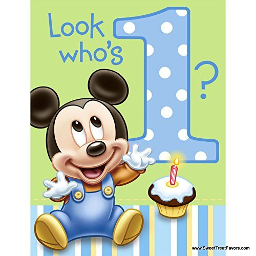 Astonishing Mickey Mouse Baby 1St Birthday Edible Icing Image Cake Topper Free Personalised Birthday Cards Petedlily Jamesorg