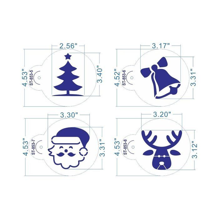 ART Kitchenware 8pcs Christmas Cookie Stencil Set Cupcake Decoration Plastic Stencils for Cake (Gift Box,Bell,... N3