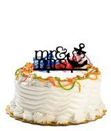 Zongheng Funny Mr and Mrs Wine Glass Cake Topper Personalized Drinking Cup Wedding Birthday Party Cake Decoration
