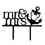 Zongheng Funny Mr and Mrs Wine Glass Cake Topper Personalized Drinking Cup Wedding Birthday Party Cake Decoration N3