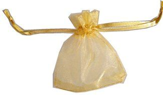 "Gold Organza Bag Pouch with Ribbon Ties 2"" X 3"" (Pack of 24)"