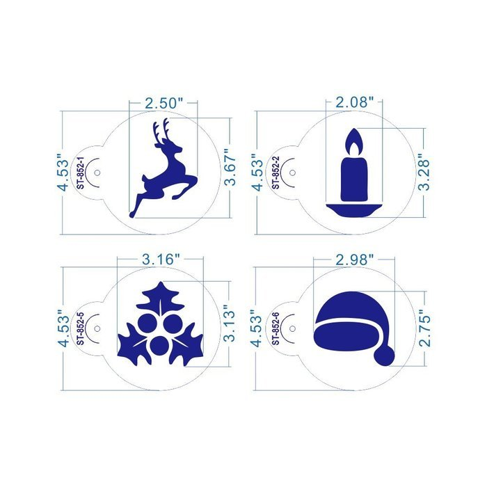 ART Kitchenware 8pcs Christmas Cookie Stencil Set Icing Royal Stencil Tool Deer,Candle,Snowflake,Hat,Crutch Stencils... N3