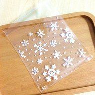LingStar 100PCS Clear Christmas Gifts White Snowflake Bake Cookies Biscuit Candy Plastic Packaging Bags