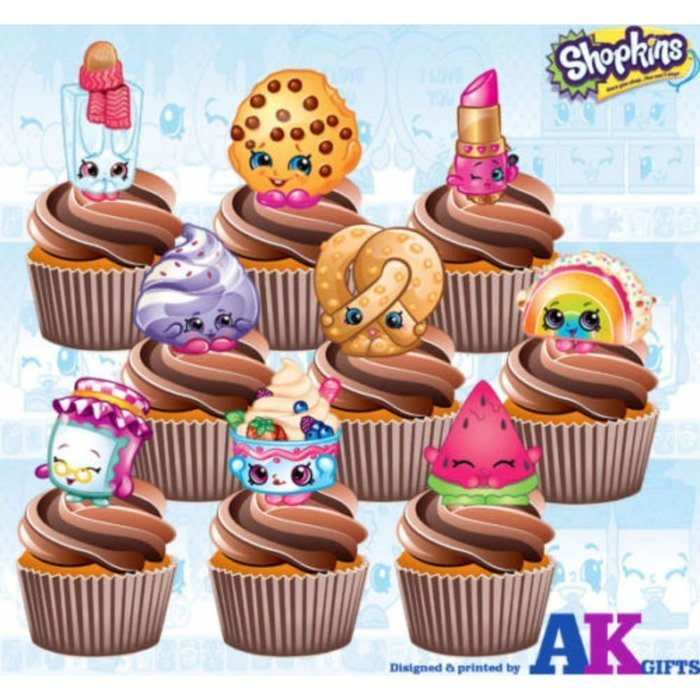 Shopkins Birthday Party Pack - Edible Stand Up Cup Cake Toppers (Pack of 36)