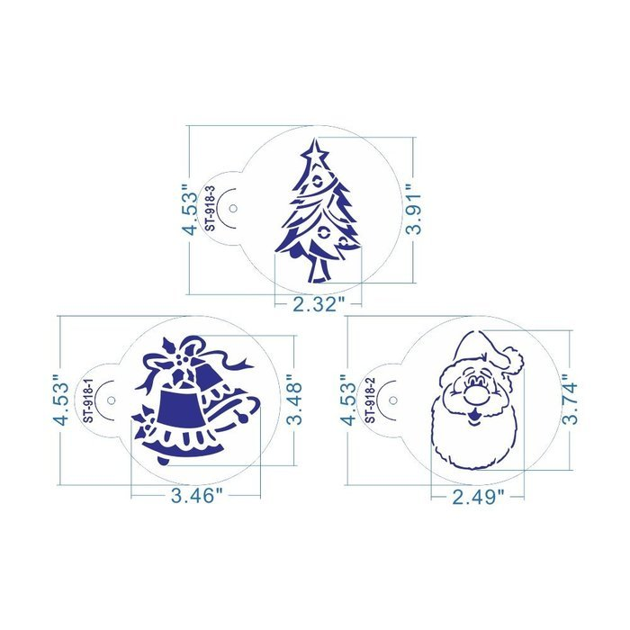 ART Kitchenware 6pcs/set Christmas Stencil Set for Cakes Sugar Decoration Cookie Mold Reusable Stencils for Painting... N2