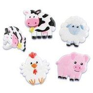 Farm Animal Pig Cow Sheep Rooster (24) Cake Cupcake Decoration Ring Favors