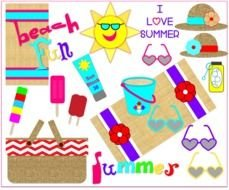 Colorful summer tools clipart