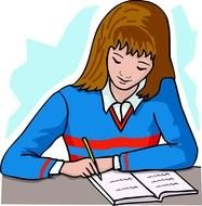 writing girl at the table as a picture for clipart