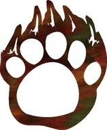 Clip art of Grizzly Bear Paw Print