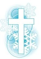 Cross and snowflakes clipart