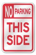 no parking this side, traffic sign