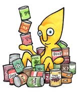 orange anthropomorphic figure in pile of Canned food, drawing