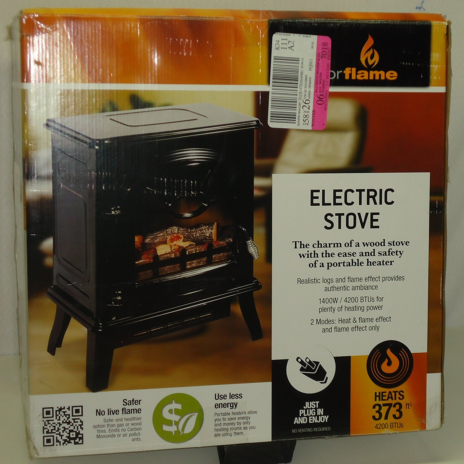 Decor Flame Electric Fireplace Heater Stove 1400w 4200 Btus