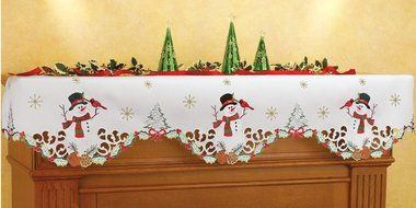 Snowman Red Cardinal Christmas Holiday White Decorative Mantel Scarf