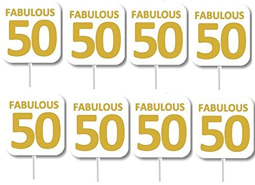12pack Fabulous 50 50th Birthday Cupcake Decoration Picks
