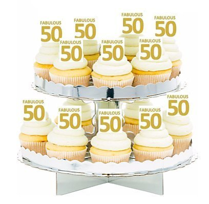 12PACK FABULOUS 50 50TH BIRTHDAY CUPCAKE DECORATION PICKS N2