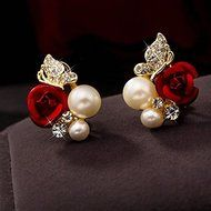 Red Rose Floral & Imitation Pearl Stud Earrings 18KT Gold Plated Crystal Jewelry N2