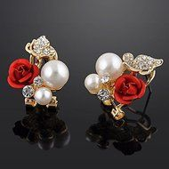 Red Rose Floral & Imitation Pearl Stud Earrings 18KT Gold Plated Crystal Jewelry N3