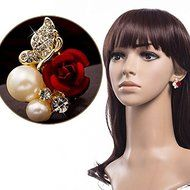 Red Rose Floral & Imitation Pearl Stud Earrings 18KT Gold Plated Crystal Jewelry N4