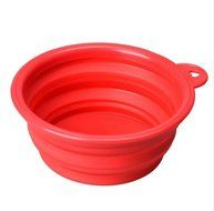 EC Life@ S&S Eco-friendly Dog Cat Pet Collapsible Travel Feeding Foldable Silicone Bowl(small bowl) (pink)