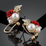 Red Rose Floral & Imitation Pearl Stud Earrings 18KT Gold Plated Crystal Jewelry N5