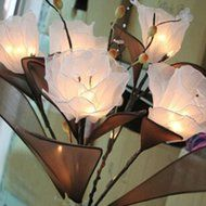 KAKA(TM) Amaryllis Flowers Led String Lights with Plug-in Light Decorate Vase Lantern Warm White Light 220V N4