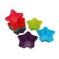 Trustworthy Buy 12-pack Reusable Silicone Star Shape Baking Cups / Cupcake Liners - Blue/Green/Red/Purple