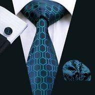 Dan Smatree Menโ€™s Silk Neckties Tie and Hanky and Cufflinks Sets