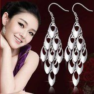 Womens 925 Sterling Silver long Peacock Tail Drop/Dangle Ear Stud Hook Earrings N2