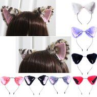 Chunlin Orecchiette Anime Neko Cosplay Halloween Party Cat Fox Ears Long Fur Ears (Black Headband) N14