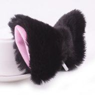 Chunlin Orecchiette Anime Neko Cosplay Halloween Party Cat Fox Ears Long Fur Ears (Black Headband) N18