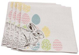 Xia Home Fashions Bunny Eggs Printed Easter Napkins, 20 by 20-Inch, Natural, Set of 4 N2