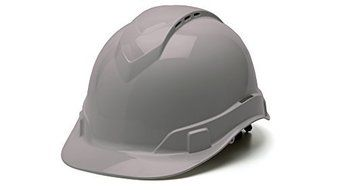 Pyramex HP44112V Ridgeline Cap Style Hard Hat with 4-Point Vented Ratchet, Gray by Pyramex