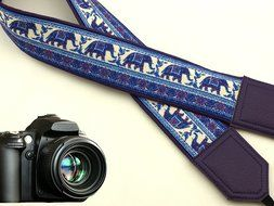 InTePro padded Lucky Elephants camera strap. Ethnic camera strap. Dark purple DSLR / SLR Camera Strap with Indian...