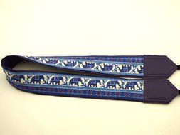InTePro padded Lucky Elephants camera strap. Ethnic camera strap. Dark purple DSLR / SLR Camera Strap with Indian... N2