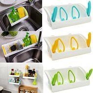 Bluelover Strong Suction Cup Kitchen Brush Sponge Sink Draining Towel Rack Washing Holder Green N4