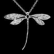 Women Fashion Charms Silver Plated Dragonfly Necklace Pendant