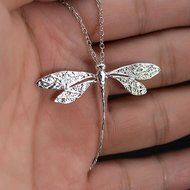 Women Fashion Charms Silver Plated Dragonfly Necklace Pendant N2