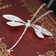 Women Fashion Charms Silver Plated Dragonfly Necklace Pendant N3