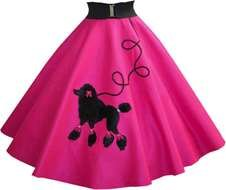 pink skirt with painted black poodle