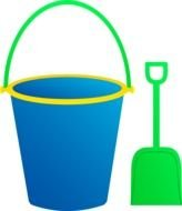 blue Bucket And green Shovel Clipart
