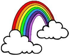 Rainbow and clouds Clip Art drawing