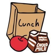 drawn lunch and paper bag