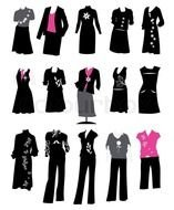 drawings of women\'s clothing on a white background