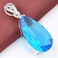 Unique Vintage Style Teardrop Blue Topaz Gems Silver Necklace Pendant Jewelry N3