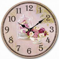 Retro Vintage Style Large Clock Purple Rose Flower Cup Vase Home Decorative Wall Clock Wood