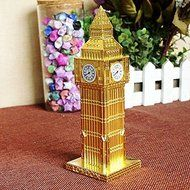 15cm London Big Ben Statue Fake Clock Gold Bronze Wine Red Color Famous Building Figurine Model For Home Decoration