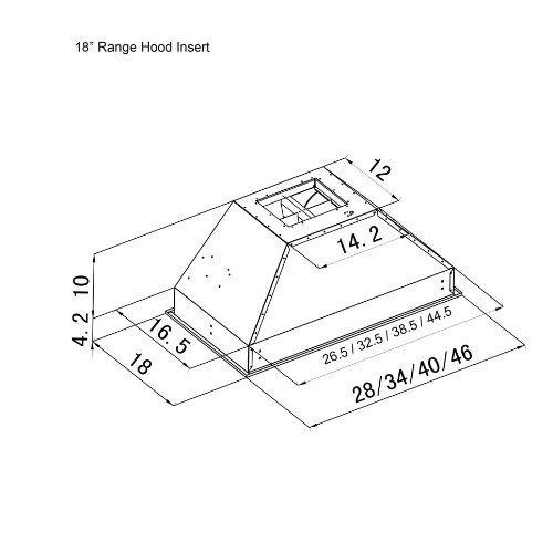 Z Line 698-28-LED Deep Stainless Steel Range Hood Insert, 28