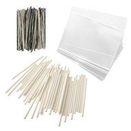 "Baking Addict 100 Cake Pop Treat Bag Sets Metallic Twist Ties, Lollipop Sticks, Clear Cello Favor Bags, 4"" W,..."